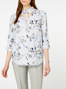 Multicoloured Printed Cut Out Roll Sleeve Shirt