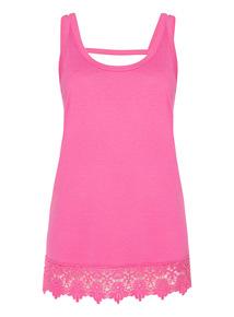 Pink Sleeveless Lace Trim Vest