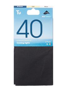 Black 40 Denier Summer Breeze Cooling Tights 2 Pack