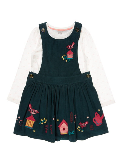 Green Pinny Dress Set (9 months-5 years)