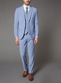 Pastel Blue Slim Fit Suit Waistcoat