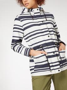 Drawcord Stripe Raincoat