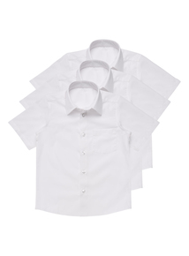 Boys White Short Sleeved Bionic Cotton Shirts 3 Pack (3-12 Years)