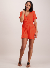 Online Exclusive Coral Wrap Playsuit