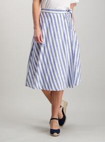 Blue Striped Wrap Around Skirt 3b38f5ee0