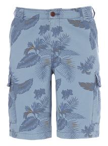 Blue Washed Pattern Cargo Shorts