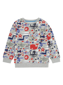 Boys Multicoloured Pattern Sweat (9 months-6 years)