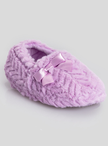 Purple Faux Fur Slippers (6 Infant - 4 Child)