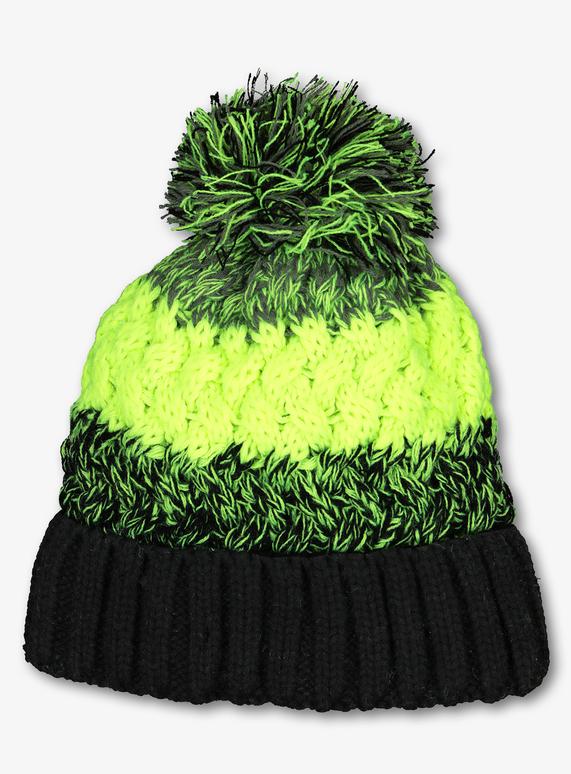 a093806fb7f72 Kids Lime   Black Colour Block Beanie Hat (1-13 years)