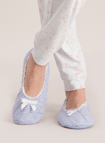 Blue Spotted Ballerina Slippers
