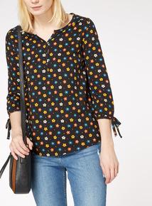 Multicoloured Daisy Pintuck Top