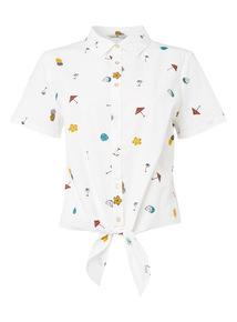 White Embroidered Print Shirt