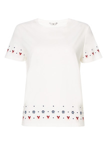 Cream Embroidered T-Shirt