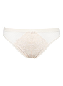 Cream Soft Touch Floral High Leg Briefs