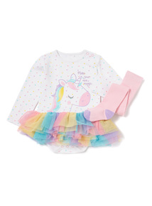 Multi-Coloured Unicorn Tutu Bodysuit And Tights Set (0-24 months)