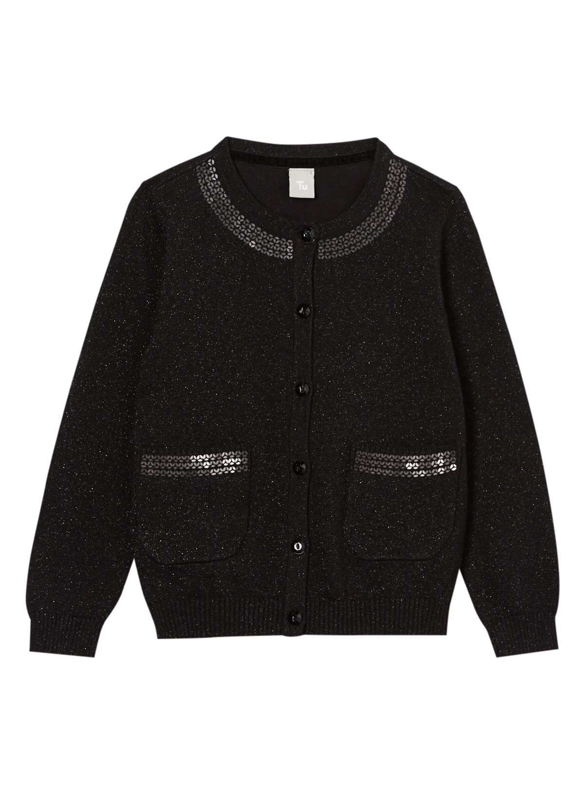 All Girl's Clothing Girls Black Lurex And Sequin Cardigan (9 ...