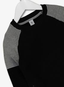 Black & Grey Ribbed Jumper (3-14 years)