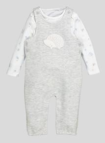 Grey Quilted Hedgehog Dungaree Set (Newborn-12 months)