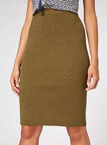 Khaki Ribbed Pencil Skirt
