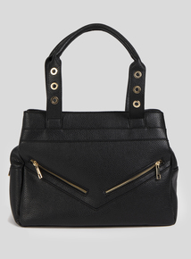 Black Eyelet Textured Bag