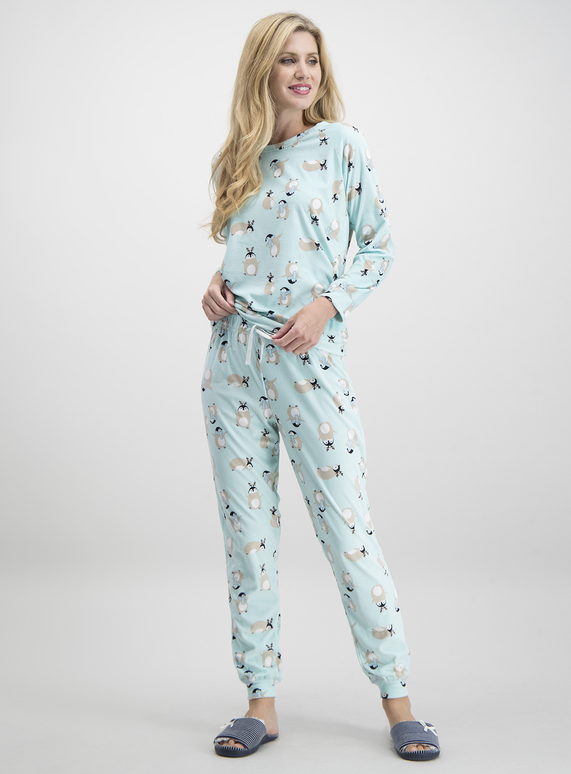 Cute Womens Christmas Pajamas.Sku Penguin Print Slinky Boxed Multi Coloured
