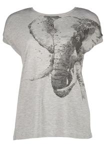 Grey Elephant Print T-Shirt