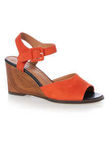 Orange Wood Wedge Sandals
