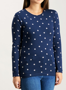 PETITE Navy Daisy Print Long Sleeve T-Shirt