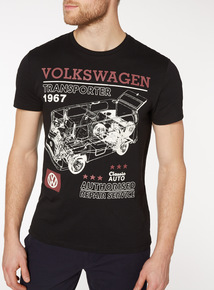 Black VW Camper Van Print T-shirt
