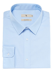 Blue Twill Cotton Tailored Fit Shirt