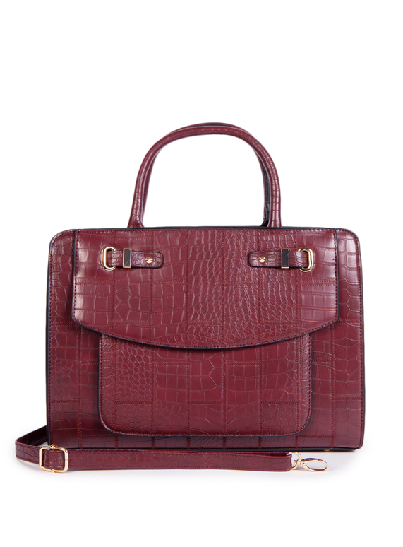 Dark Red Faux Crocodile Skin Handbag