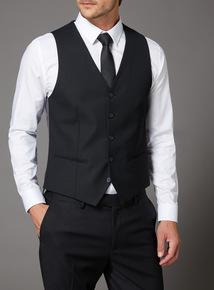 Black Textured Slim Fit Stretch Waistcoat