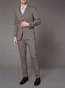 Online Exclusive Light Brown Slim Fit Stretch Waistcoat