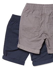 2 Pack Navy and Grey Ribbed Waist Shorts (3-14 years)