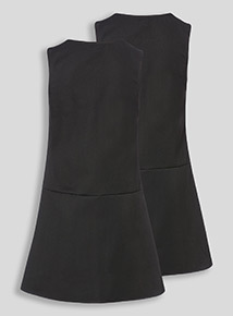 2 Pack Black Zip Through Pinafore (3-12 years)