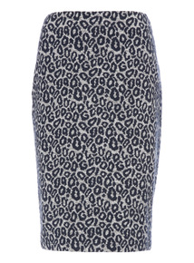Grey Animal Print Tube Skirt