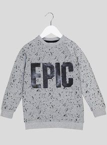 Grey Sequinned Slogan Sweatshirt (3-14 years)