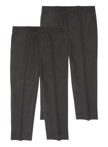 Boys Grey Trousers 2 Pack Slim Fit (3-12 years)