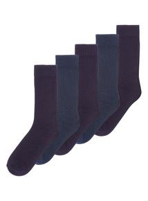 Blue StayFresh Cushioned Sole Socks 5 Pack
