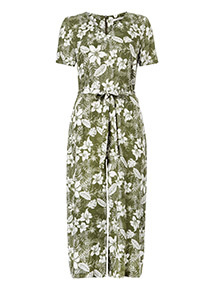 Green and White Leaf Printed Jumpsuit