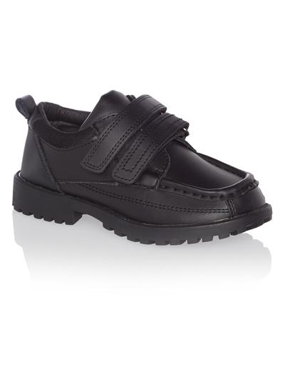 Kids Boys Black Leather Velcro School Shoes  67e9db124