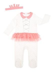 Girls White Princess Sleepsuit (0-12 months)