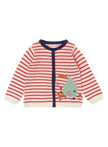 Girls White Stripe Knit Cardigan (0-24 months)