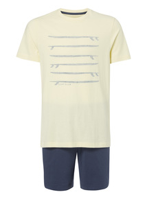 Yellow Surfboard Tee And Shorts PJ Set