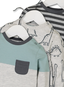 Grey & Green Dinosaur Tops 3 Pack (0-24 months)