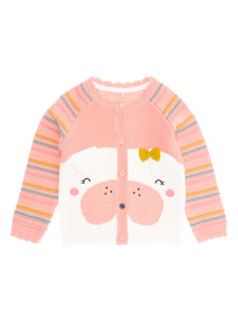Pink Dog Stripe Cardigan (0-24 months)