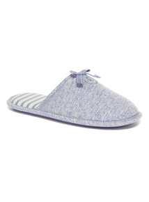Light Blue Bow Applique Mule Slippers