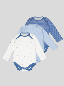 Blue Geometric Mountain Print Bodysuits (newborn-3 years)
