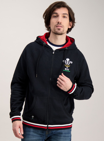 Wales Rugby Black Zip Up Hoodie