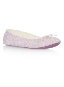 Burnout Floral Ballerina Slipper